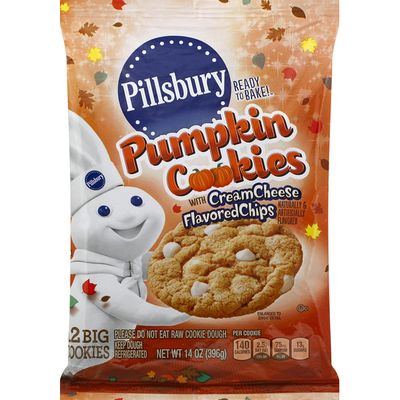 Pillsbury Cookies, Pumpkin, with Cream Cheese Flavored Chips
