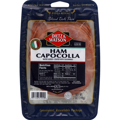 Dietz & Watson Cooked Ham Capocolla, Pre-Sliced