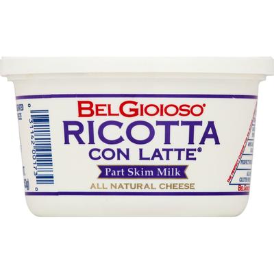 BelGioioso Fresh Ricotta con Latte, Cheese, Part Skim Milk, Cup