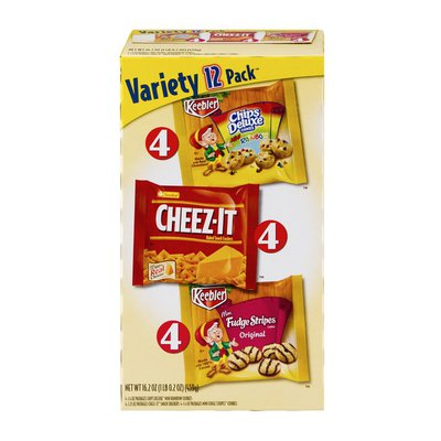 Keebler Chips Deluxe Mini Rainbow Cookies, Cheez-It Baked Snack Crackers and Mini Fudge Stripes Cookies Variety Pack