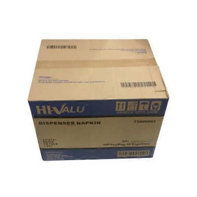 "Hi-Valu 13"" x 12"" 1/8 Fold White 1-Ply Dispenser Napkins"