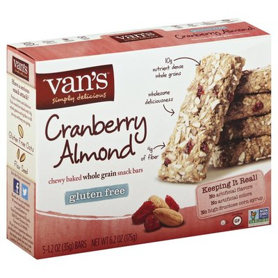Van's Natural Foods Snack Bars, Chewy Baked, Whole Grain, Cranberry Almond