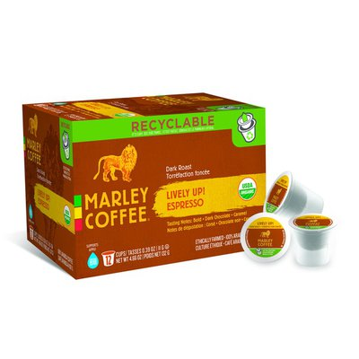 Marley Coffee Dark Roast Lively Up! Expresso Cups - 12 CT