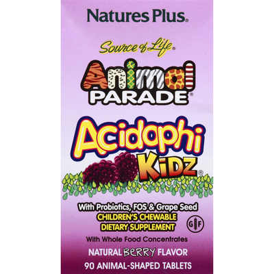 Nature's Plus Acidophi Kidz, With Probiotic, FOS & Grape Seed, Animal-Shaped Tablets, Berry Flavor