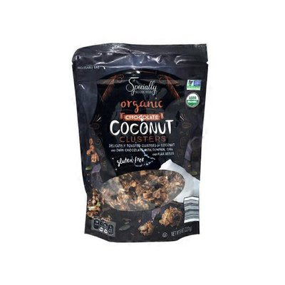 Specially Selected Organic Delicately Toasted Clusters Of Coconut And Dark Chocolate With Pumpkin, Chia And Flax Seeds