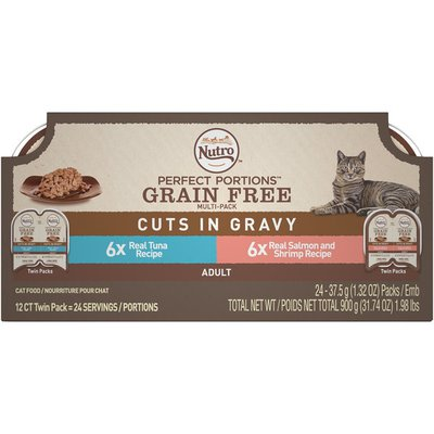 Nutro Perfect Portions Grain Free Cuts in Gravy Real Tuna/Real Salmon and Shrimp Adult Cat Food
