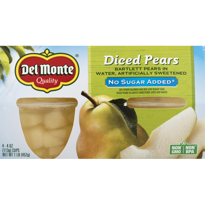 Del Monte Diced Pears in Water, No Sugar Added Fruit Cups