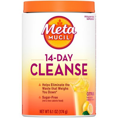 Metamucil 14 Day Cleanse, Psyllium Fiber Supplement, Sugar Free Powder Citrus