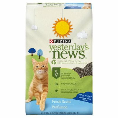 Purina Yesterday's News Non Clumping Paper Cat Litter, Fresh Scent Low Tracking Cat Litter