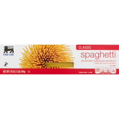Food Lion Pasta, Spaghetti, Classic, Box