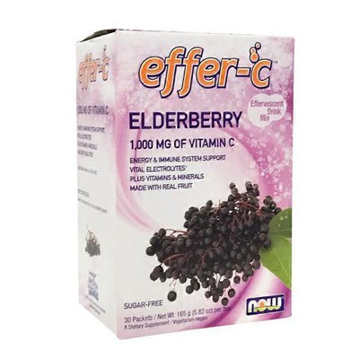 Now Effer-c Vitamin C 1,000 Mg Made With Real Fruit, Plus Vitamins & Minerals, Energy & Immune System Support, Vital Electrolytes Dietary Supplement Effervescent Drink Mix Packets, Elderberry