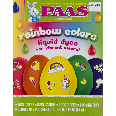 Paas Egg Decorating Kit, Rainbow Colors, Liquid Dyes