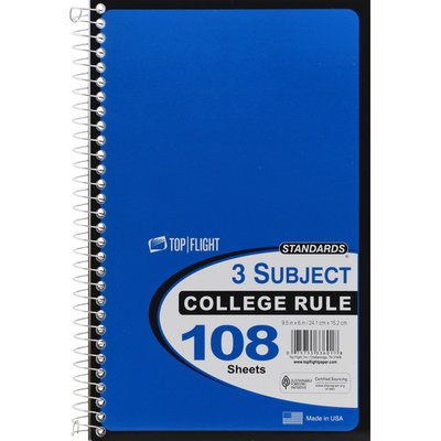 Standards Top   Flight 3 Subject College Rule 108 Sheets