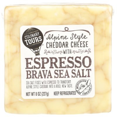 Culinary Tours Alpine Style Cheddar Cheese With Espresso Brava Sea Salt
