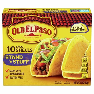 Old El Paso Taco Shells, Stand 'n Stuff, Gluten Free, 10 Count
