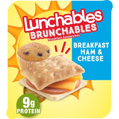 Lunchables Breakfast Sandwiches Meal Kit with Ham, Cheddar Cheese, Flatbreads & Blueberry Muffin