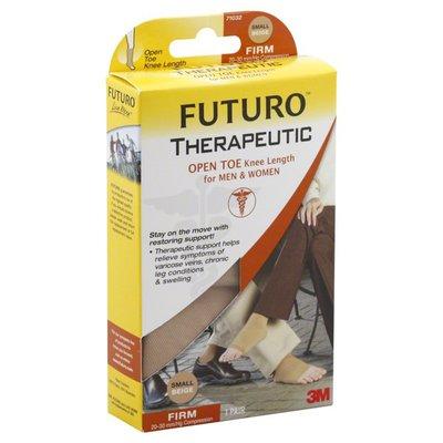 FUTURO Stockings, Open Toe, Knee Length, for Men & Women, Firm, Small, Beige