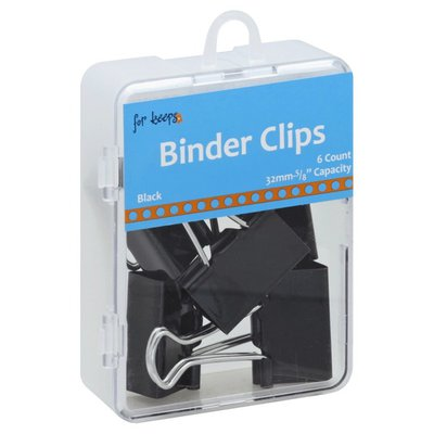For Keeps Binder Clips, Black, 5/8 Inch Capacity
