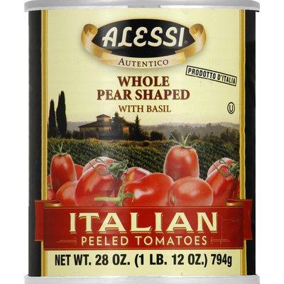 Alessi Tomatoes, Italian Peeled, Whole Pear Shaped, with Basil