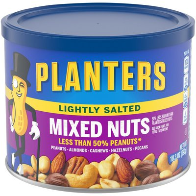 Planters Lightly Salted Mixed Nuts Less Than 50% Peanuts with Peanuts, Almonds, Cashews, Hazelnuts & Pecans