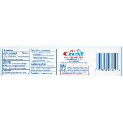Crest Kid'S Cavity Protection Toothpaste, Sparkle Fun Flavor