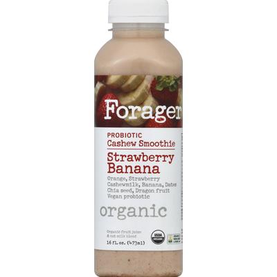 Forager Cashew Smoothie, Organic, Probiotic, Strawberry Banana