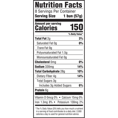 Oroweat Whole Grain 100% Whole Wheat Sandwich Buns