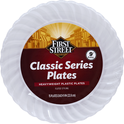 First Street Plates, Classic Series, Heavyweight Plastic, Fluted Styling, 9 Inch