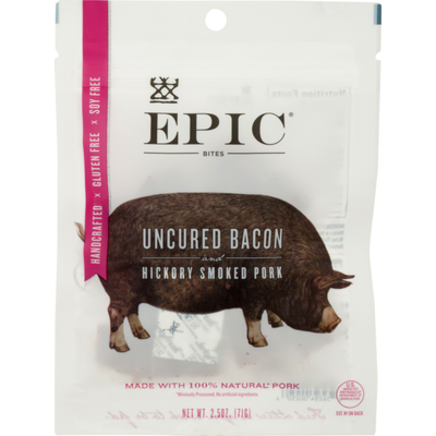Epic Bites Uncured Bacon and Hickory Smoked Pork