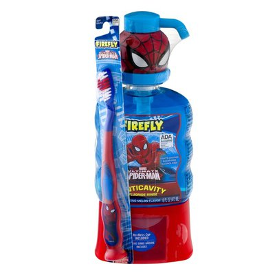 Firefly Fluoride Rinse, Anticavity, Amazing Melon Flavor, with Toothbrush, Marvel Ultimate Spider-Man