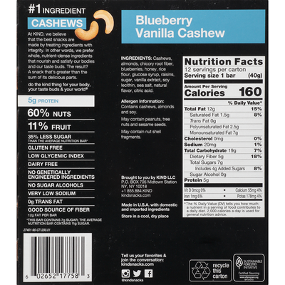 KIND Bars, Gluten Free, Blueberry Vanilla Cashew, 12 Pack