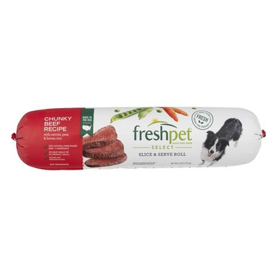 Freshpet Slice & Serve Roll Chunky Beef with Carrots, Peas & Brown Rice
