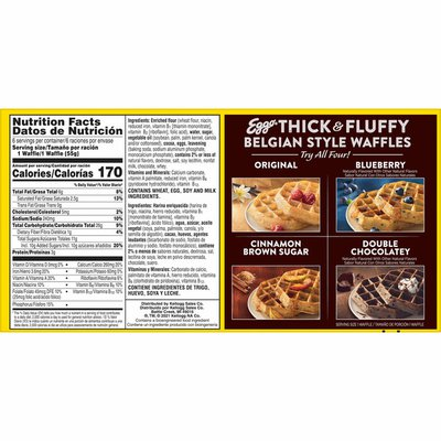Eggo Thick and Fluffy Frozen Waffles, Frozen Breakfast, Double Chocolatey