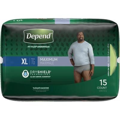 Depend Incontinence Underwear for Men, Maximum Absorbency, XL, Grey
