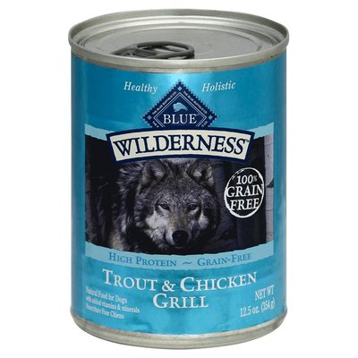 Blue Buffalo Wilderness High Protein, Natural Adult Wet Dog Food, Trout & Chicken Grill