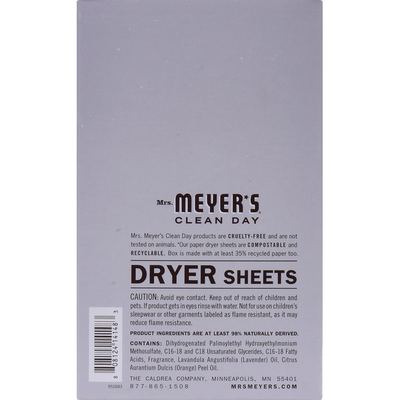 Mrs. Meyer's Clean Day Dryer Sheets, Lavender Scent