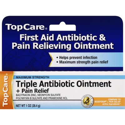 TopCare Triple Antibiotic Ointment + Pain Relief, Maximum Strength