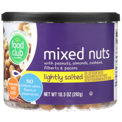 Food Club Lightly Salted Mixed Nuts With Peanuts, Almonds, Cashews, Filberts & Pecans