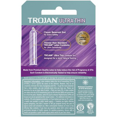 Trojan Ultra Thin Lubricated Condoms - 3 Count, Pack Of