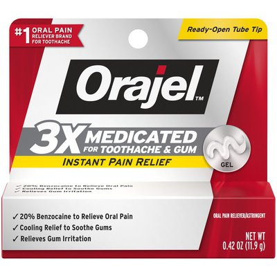 Orajel 3X For Toothache & Gum Pain: Maximum Gel Tube- From #1 Oral Pain Relief Brand-  For Instant Pain Relief