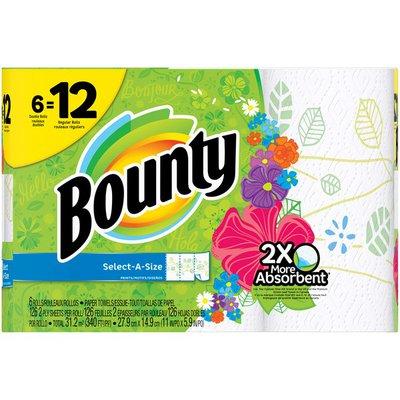 Bounty Select-A-Size, Print, 6 Double Rolls = 12 Regular Rolls  Paper Towels