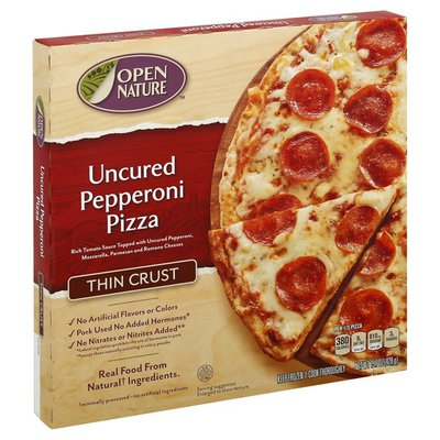 Open Nature Rich Tomato Sauce Topped With Uncured Pepperoni, Mozzarella, Parmesan And Romano Cheeses Thin Crust Pizza