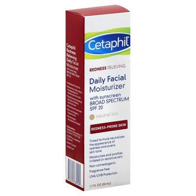 Cetaphil Moisturizer, Daily Facial, Broad Spectrum SPF 20, Neutral Tint, Redness Relieving, Redness-Prone Skin