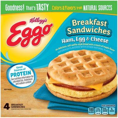 Kellogg's Eggo Ham Egg & Cheese Breakfast Sandwiches