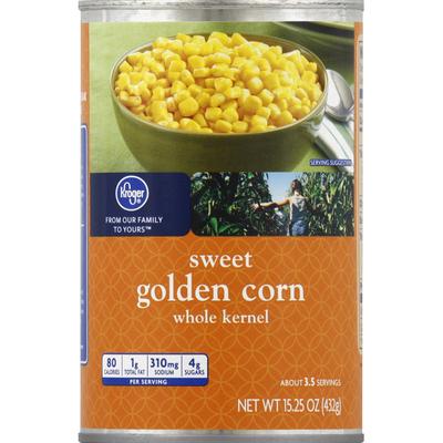 Kroger Corn, Sweet Golden, Whole Kernel