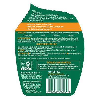 Seventh Generation Disinfecting Bathroom Cleaner Lemongrass Citrus