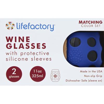 Lifefactory Glasses, Wine, Cobalt, 11 Ounces