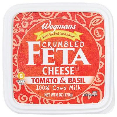 Wegmans Cheese, Feta, Crumbled, Tomato & Basil