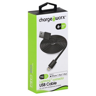 Chargeworx USB Cable, Lightning Connector, Tangle Free, 6 Feet