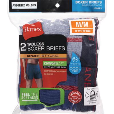 Hanes Assorted Men's Tagless Boxer Briefs Size Medium